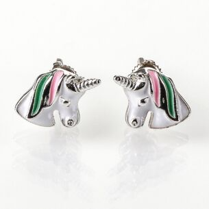 Silver Plated Pink and Green Unicorn Earrings