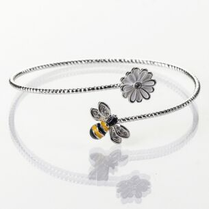 Silver Plated Hand Painted Bee Bangle with White Flower