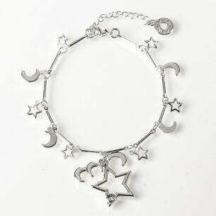 Silver Plated Celestial Stars Bracelet with Star Charm