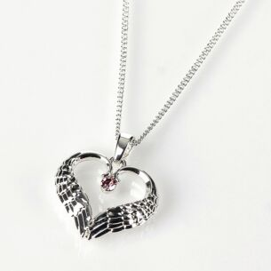 Silver Plated Guardian Angel Necklace with Pink Gem