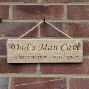'Dad's Man Cave' Natural Wooden Sign
