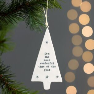 'Most Wonderful Time of The Year' Porcelain Tree Decoration