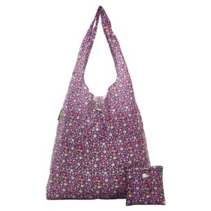 Purple Ditsy Flowers Recycled Foldaway Shopper Bag