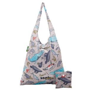 Grey Sea Creatures Recycled Foldaway Shopper Bag