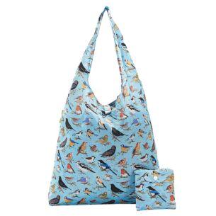 Blue Wild Birds Recycled Foldaway Shopper Bag