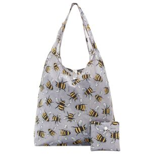 Grey Bumblebees Recycled Foldaway Shopper Bag