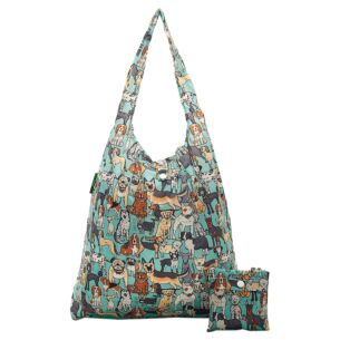 Teal Dogs Recycled Foldaway Shopper Bag