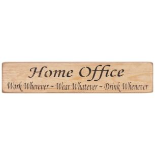 'Home Office' Long Natural Wooden Sign