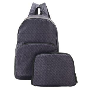 Black Disrupted Cubes Recycled Foldaway Backpack