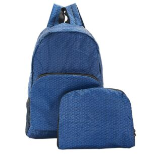 Navy Disrupted Cubes Recycled Foldaway Backpack