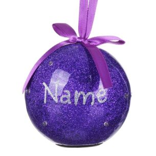 Personalised 'Your Name in Lights' Purple LED Bauble