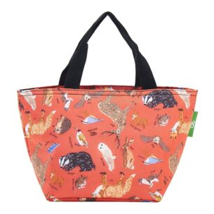 Red Woodland Animals Recycled Insulated Lunch Bag