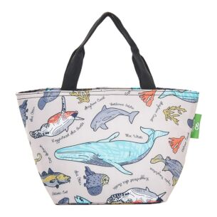 Grey Sea Creatures Recycled Insulated Lunch Bag