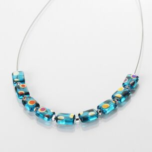 Turquoise Dotty Rectangle Links Necklace