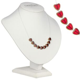 Red Gold Edged Hearts Necklace