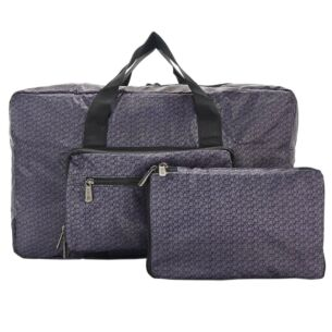 Black Disrupted Cubes Recycled Foldaway Holdall Bag