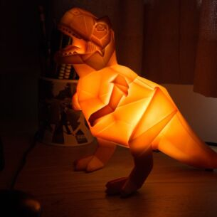 Large Orange Dinosaur Origami Lamp
