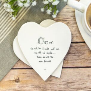 'We Will Be Friends' Heart Shaped Coaster
