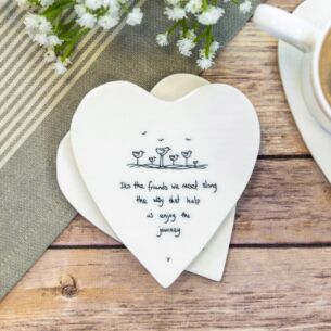 'It's the Friends We Meet' Heart Shaped Coaster
