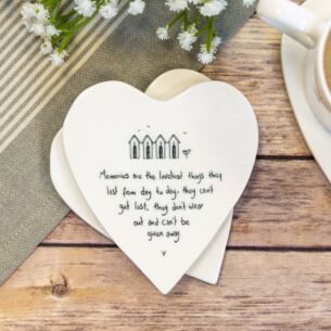 'Memories Are the Loveliest Things' Heart Shaped Coaster