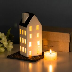 Boxed Large Porcelain House Tealight Cover