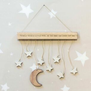 Wooden Hanger Moon & Stars Mobile