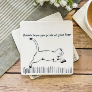 'Paw Prints on Your Heart' Square Coaster