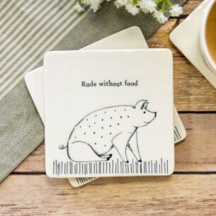 'Rude Without Food' Square Coaster