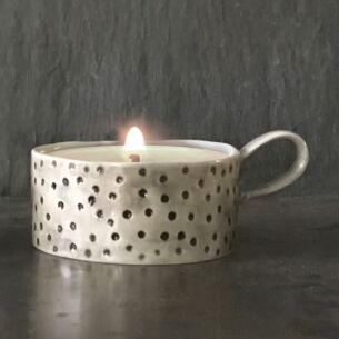 Dimpled Spot Handled Candle Holder