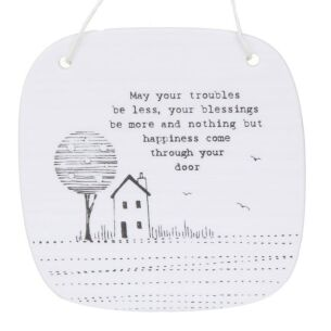 May Your Troubles Hanging Porcelain Sign
