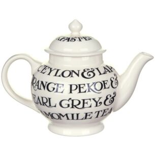 Black Toast Writing Boxed 4 Cup Teapot