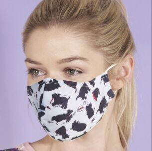 White Scatty Scotty Dogs Recycled Face Cover