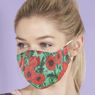 Green Poppies Recycled Face Cover