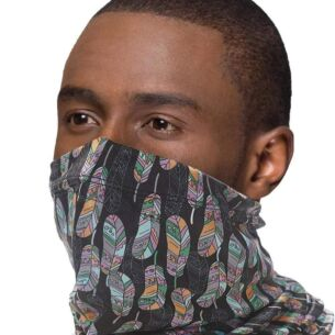 Snood with Filter Pocket – Black Feathers