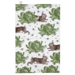 Rabbit & Cabbage Tea Towel