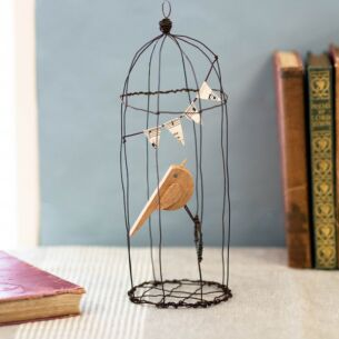 Large Naive Bird in Wire Cage Ornament