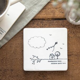 'Grandparents House' Porcelain Square Coaster