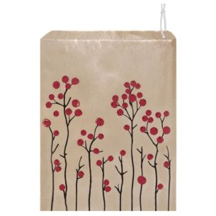 'Red Berries' Pack of 50 Large Strung Bags