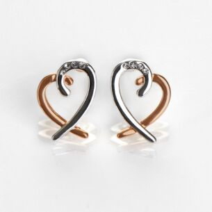 Polished Two Tone Layered Heart Earrings