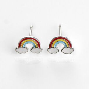 Assorted Girls Silver Plated Rainbow Earrings