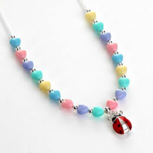 Girls Silver Plated Pastel Hearts Ladybird Necklace