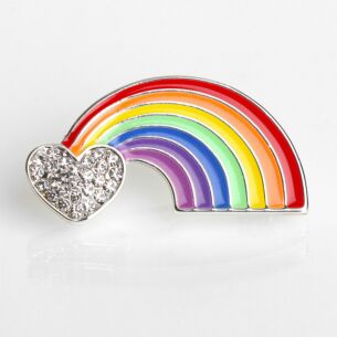 Silver Plated Colourful Rainbow Brooch