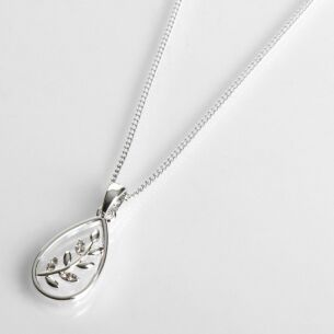 Silver Plated Back To Nature Fern Teardrop Necklace