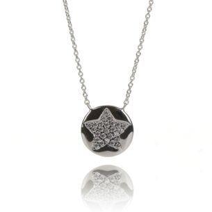 Clear CZ Pave Round Star Necklace