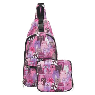 Purple Stacking Cats Recycled Foldaway Crossbody Bag