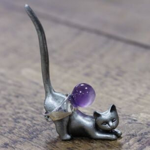 Crouching Cat Pewter Ring Holder