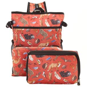 Red Woodland Animals Recycled Foldaway Cooler Backpack