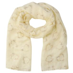 Hollow Foil Hearts Cream Scarf