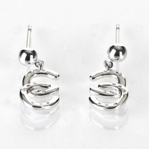 Country Horse Shoes Silver Plated Earrings