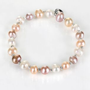 Champagne Fresh Water Pearl Silver Plated Boxed Bracelet